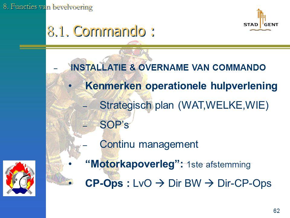 61 8. Functies van bevelvoering 8.0. Commando : – OVERNAME & INSTALLATIE & van het COMMANDO – EVALUATIE van de (BRAND-) SITUATIE – COMMUNICATIE – ONTW