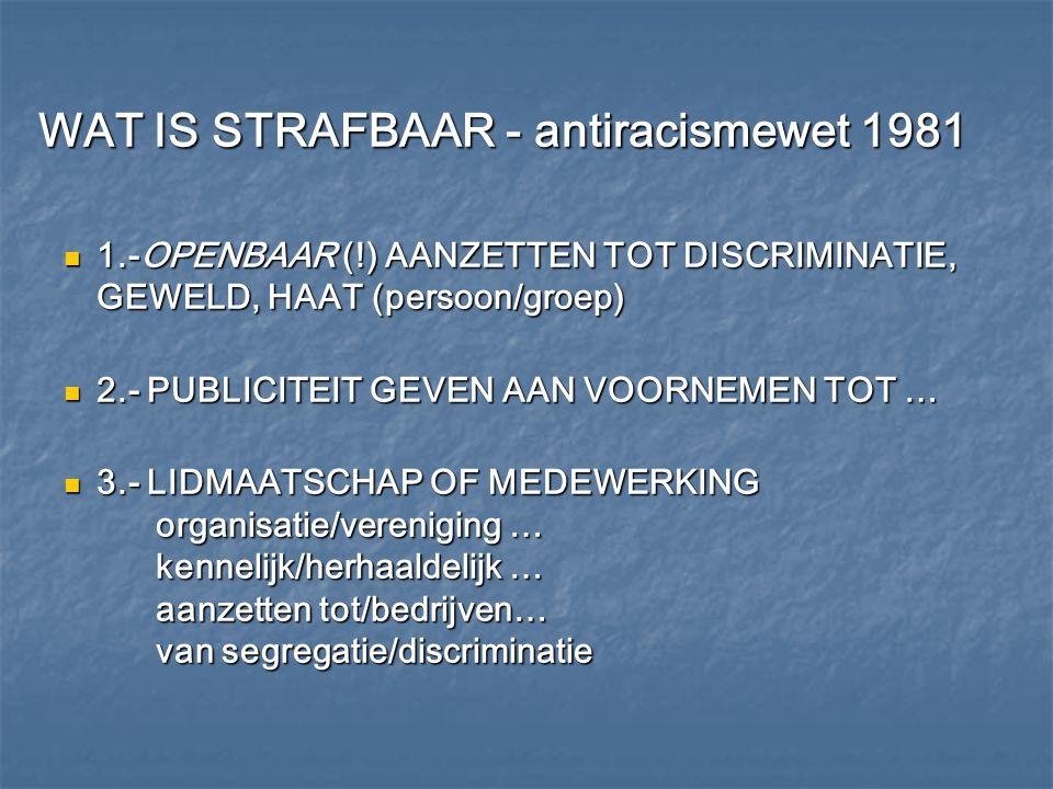 WAT IS STRAFBAAR - antiracismewet 1981 WAT IS STRAFBAAR - antiracismewet 1981 1.-OPENBAAR (!) AANZETTEN TOT DISCRIMINATIE, GEWELD, HAAT (persoon/groep