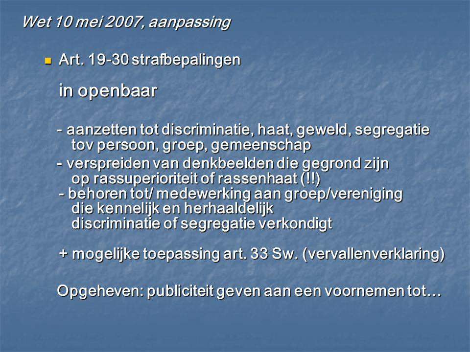 Wet 10 mei 2007, aanpassing Art. 19-30 strafbepalingen in openbaar Art. 19-30 strafbepalingen in openbaar - aanzetten tot discriminatie, haat, geweld,