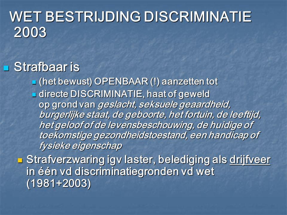 WET BESTRIJDING DISCRIMINATIE 2003 WET BESTRIJDING DISCRIMINATIE 2003 Strafbaar is Strafbaar is (het bewust) OPENBAAR (!) aanzetten tot (het bewust) O