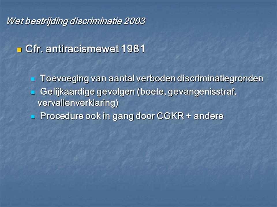 Wet bestrijding discriminatie 2003 Wet bestrijding discriminatie 2003 Cfr. antiracismewet 1981 Cfr. antiracismewet 1981 Toevoeging van aantal verboden