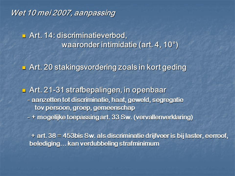 Wet 10 mei 2007, aanpassing Art. 14: discriminatieverbod, waaronder intimidatie (art. 4, 10°) Art. 14: discriminatieverbod, waaronder intimidatie (art