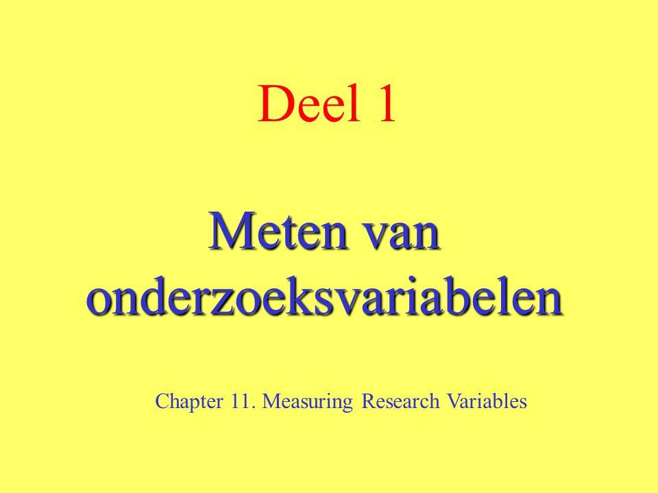 Deel 1 Meten van onderzoeksvariabelen Chapter 11. Measuring Research Variables