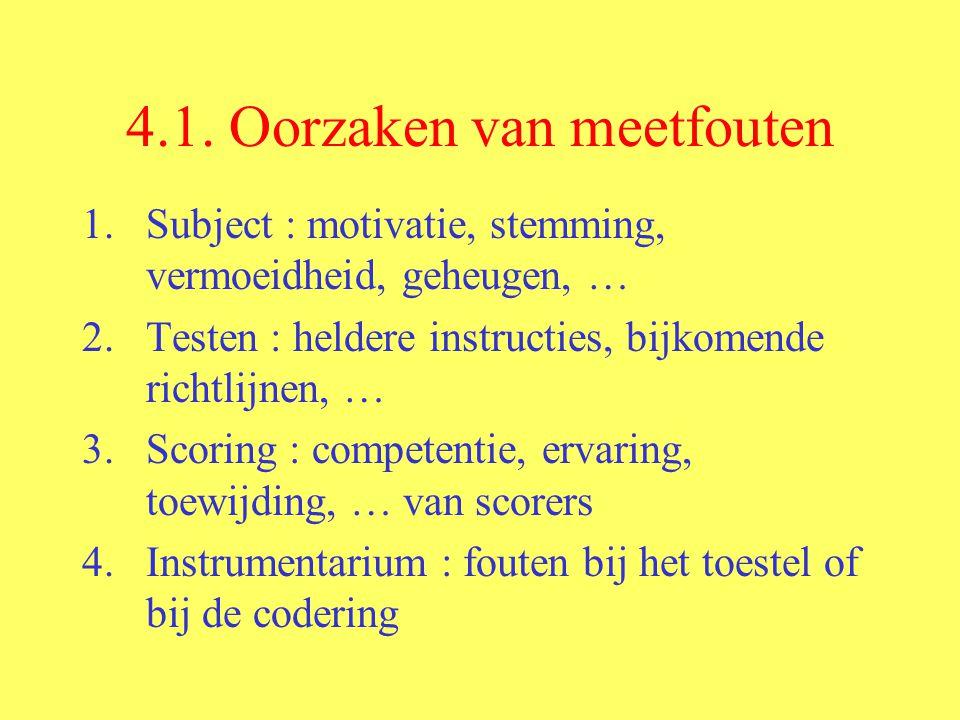 4.1. Oorzaken van meetfouten 1.Subject : motivatie, stemming, vermoeidheid, geheugen, … 2.Testen : heldere instructies, bijkomende richtlijnen, … 3.Sc