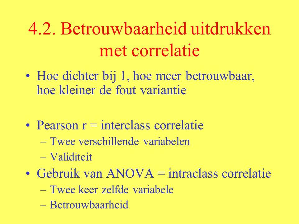 4.2. Betrouwbaarheid uitdrukken met correlatie Hoe dichter bij 1, hoe meer betrouwbaar, hoe kleiner de fout variantie Pearson r = interclass correlati