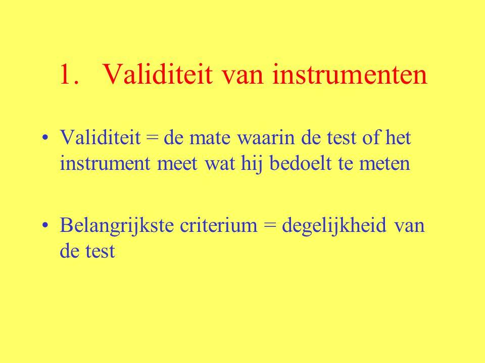 1.Validiteit van instrumenten Validiteit = de mate waarin de test of het instrument meet wat hij bedoelt te meten Belangrijkste criterium = degelijkhe