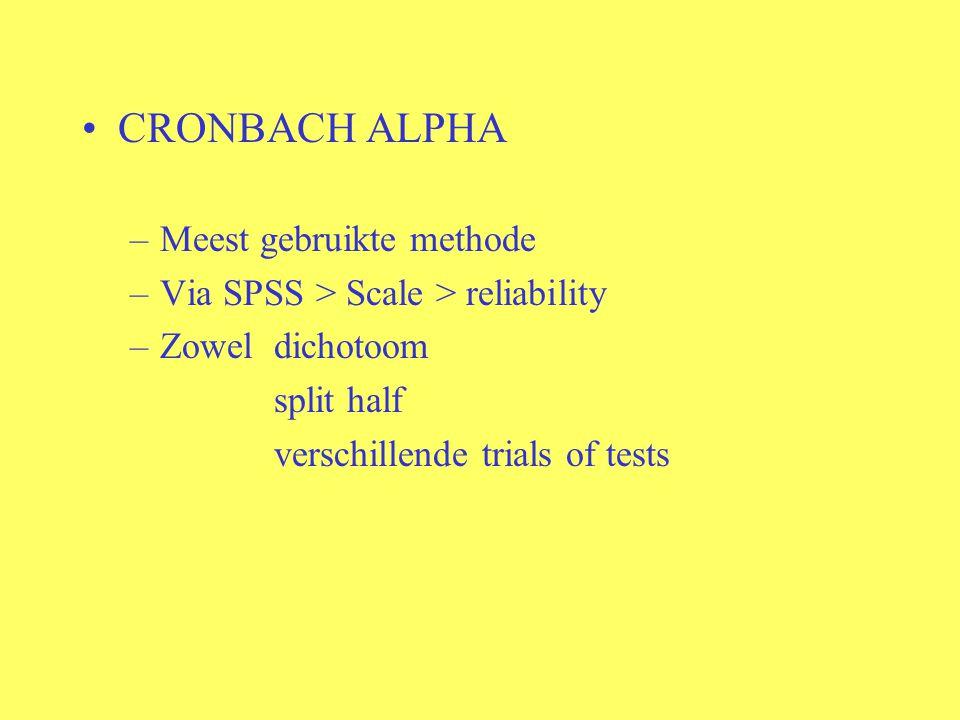CRONBACH ALPHA –Meest gebruikte methode –Via SPSS > Scale > reliability –Zoweldichotoom split half verschillende trials of tests