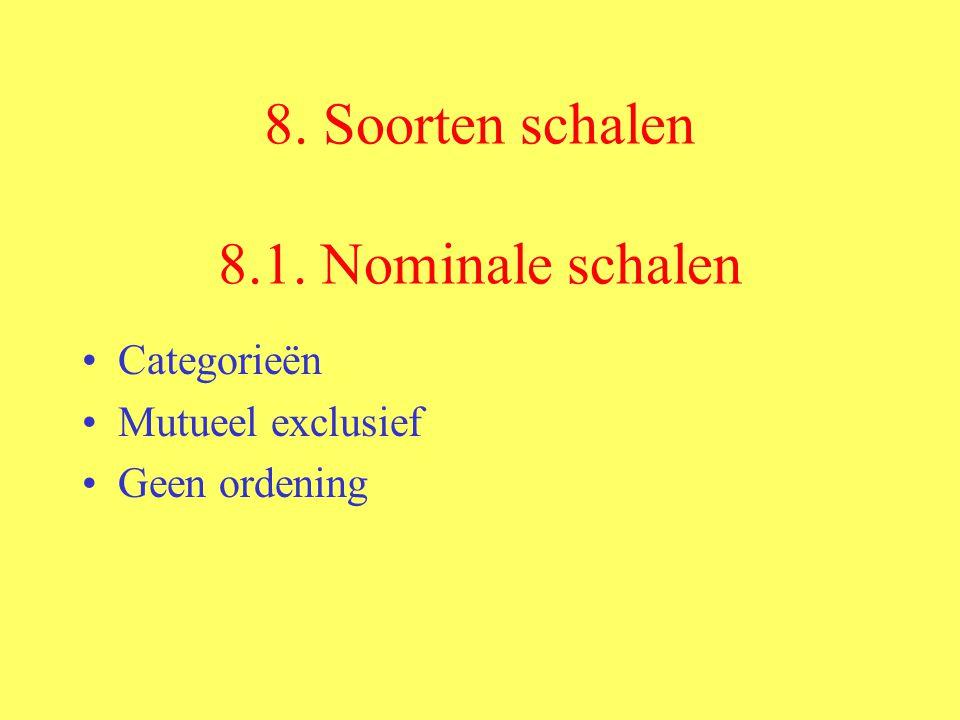 8. Soorten schalen 8.1. Nominale schalen Categorieën Mutueel exclusief Geen ordening
