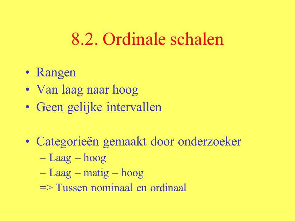 8.2. Ordinale schalen Rangen Van laag naar hoog Geen gelijke intervallen Categorieën gemaakt door onderzoeker –Laag – hoog –Laag – matig – hoog => Tus