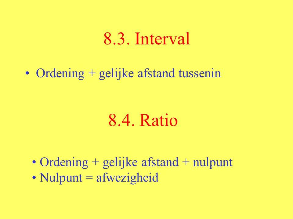 8.3. Interval Ordening + gelijke afstand tussenin 8.4. Ratio Ordening + gelijke afstand + nulpunt Nulpunt = afwezigheid
