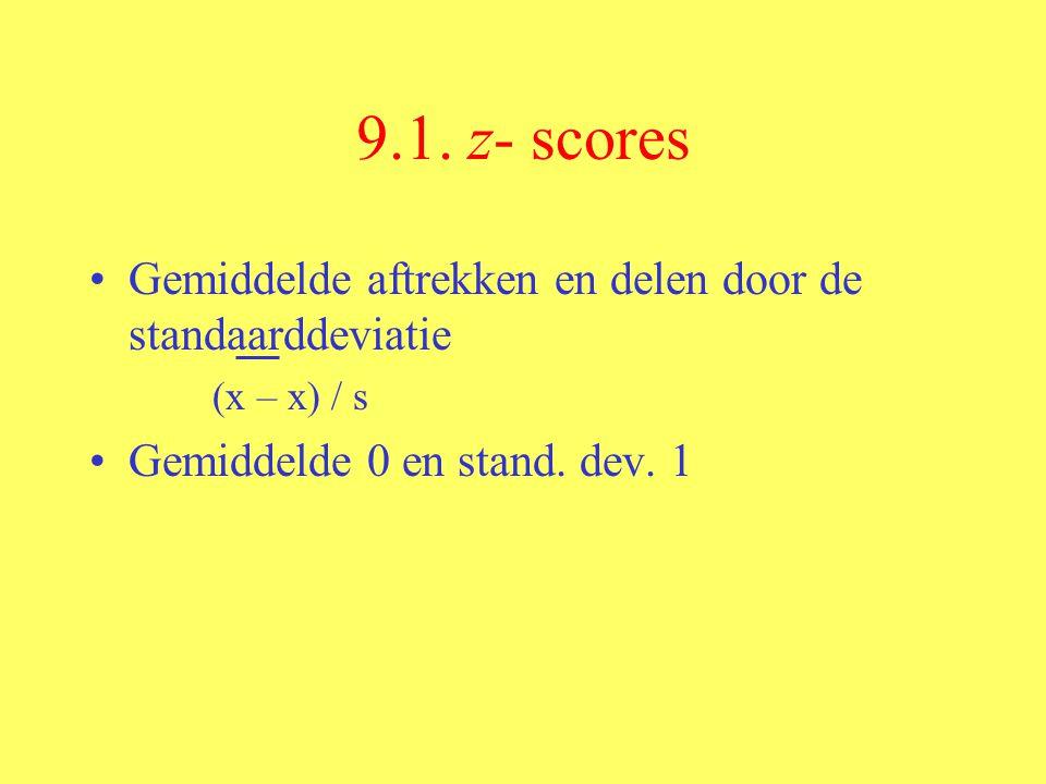 9.1. z- scores Gemiddelde aftrekken en delen door de standaarddeviatie (x – x) / s Gemiddelde 0 en stand. dev. 1