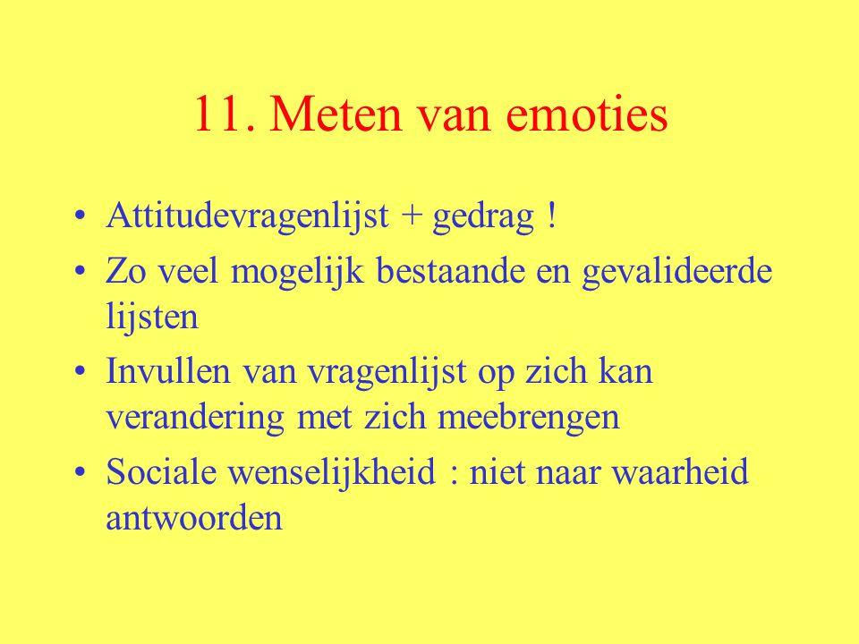 11. Meten van emoties Attitudevragenlijst + gedrag ! Zo veel mogelijk bestaande en gevalideerde lijsten Invullen van vragenlijst op zich kan veranderi