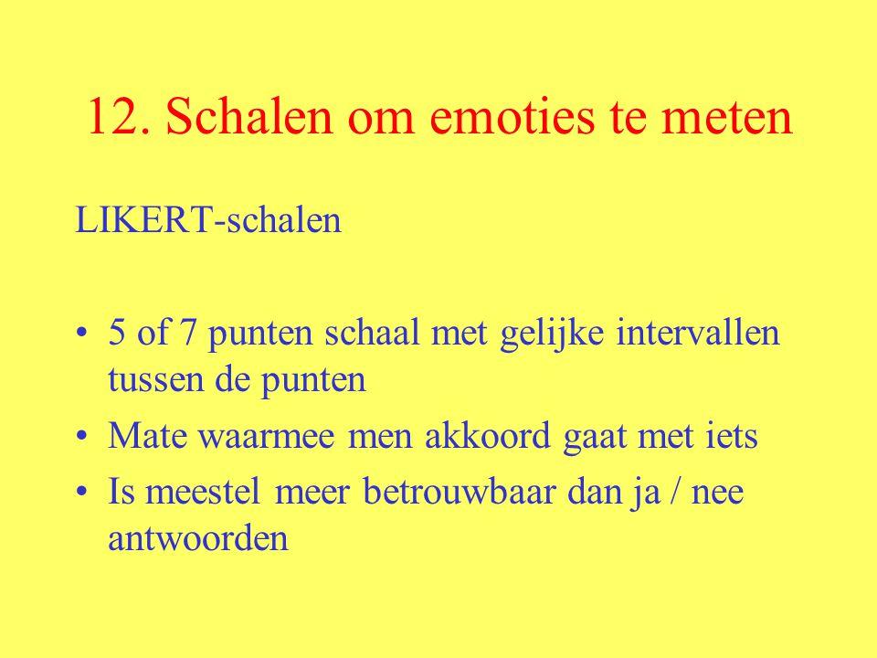 12. Schalen om emoties te meten LIKERT-schalen 5 of 7 punten schaal met gelijke intervallen tussen de punten Mate waarmee men akkoord gaat met iets Is