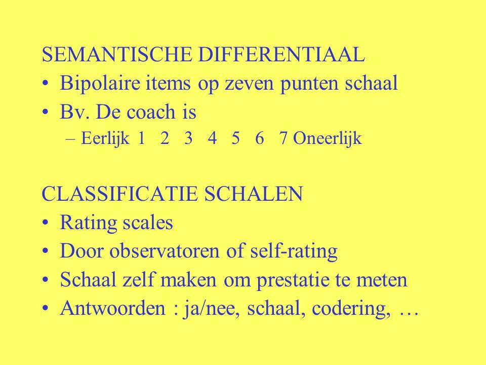 SEMANTISCHE DIFFERENTIAAL Bipolaire items op zeven punten schaal Bv. De coach is –Eerlijk 1 2 3 4 5 6 7 Oneerlijk CLASSIFICATIE SCHALEN Rating scales