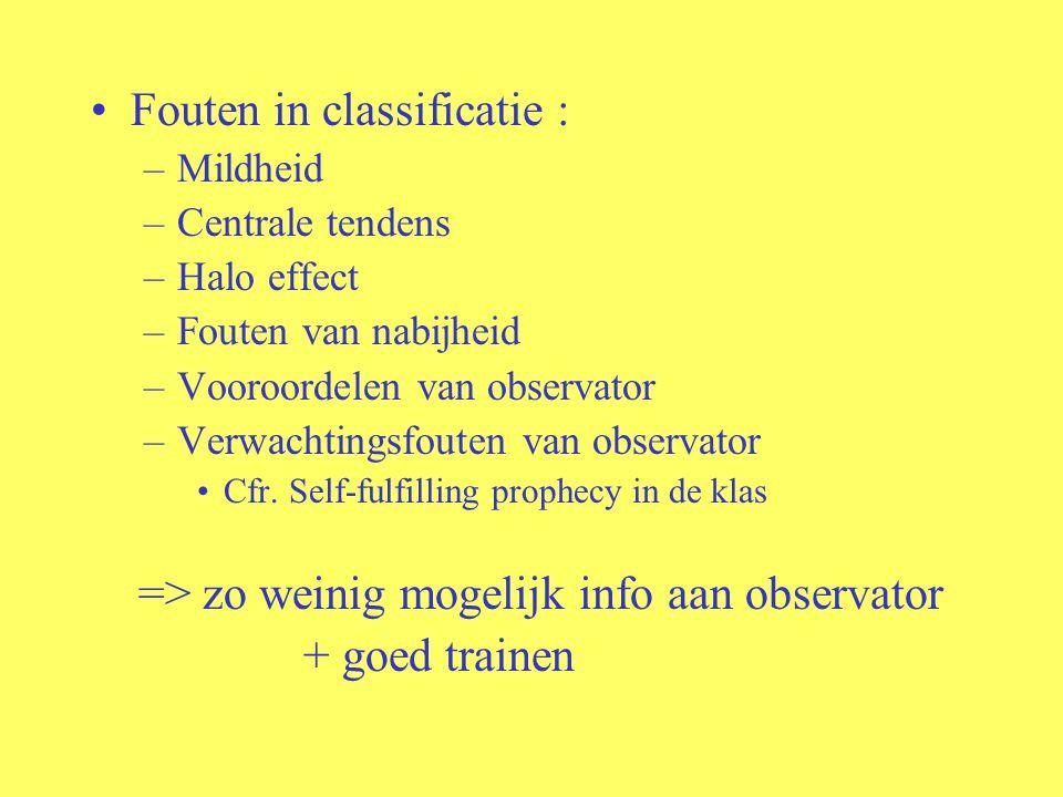 Fouten in classificatie : –Mildheid –Centrale tendens –Halo effect –Fouten van nabijheid –Vooroordelen van observator –Verwachtingsfouten van observat