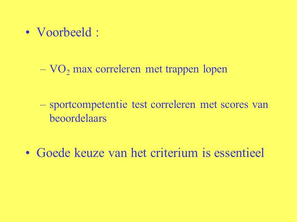 Voorbeeld : –VO 2 max correleren met trappen lopen –sportcompetentie test correleren met scores van beoordelaars Goede keuze van het criterium is esse