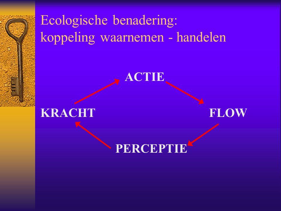 Ecologische benadering: koppeling waarnemen - handelen ACTIE KRACHTFLOW PERCEPTIE