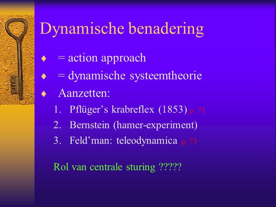 Dynamische benadering  = action approach  = dynamische systeemtheorie  Aanzetten: 1.Pflüger's krabreflex (1853) p. 71 2.Bernstein (hamer-experiment