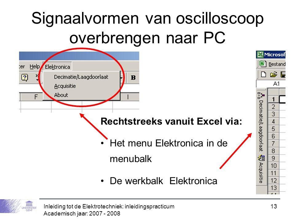 Inleiding tot de Elektrotechniek: inleidingspracticum Academisch jaar: 2007 - 2008 13 Signaalvormen van oscilloscoop overbrengen naar PC Rechtstreeks