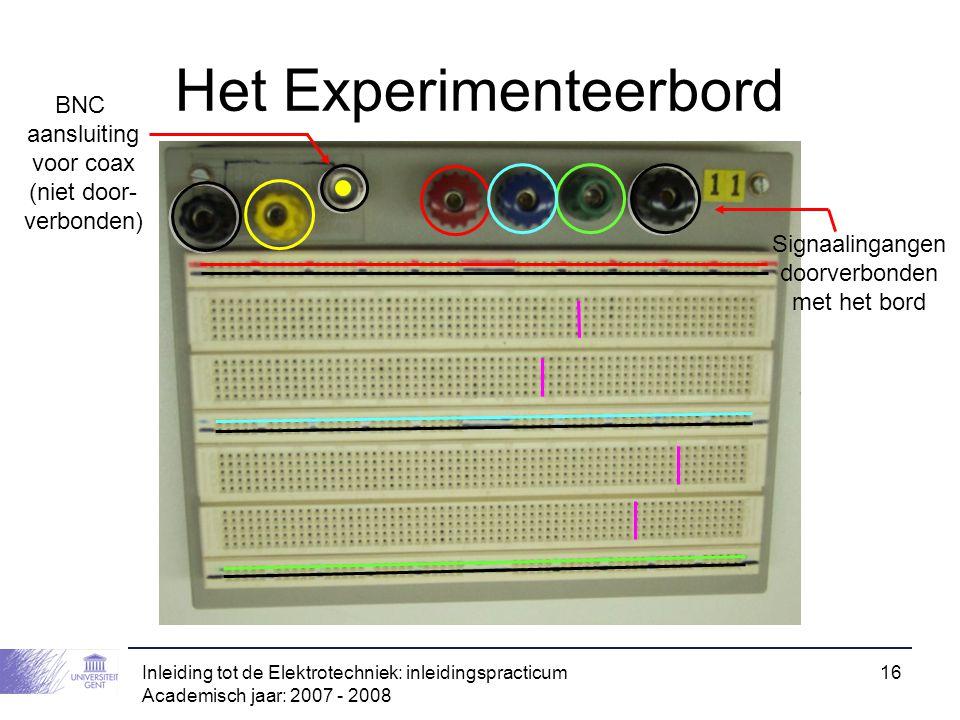 Inleiding tot de Elektrotechniek: inleidingspracticum Academisch jaar: 2007 - 2008 16 Het Experimenteerbord BNC aansluiting voor coax (niet door- verb