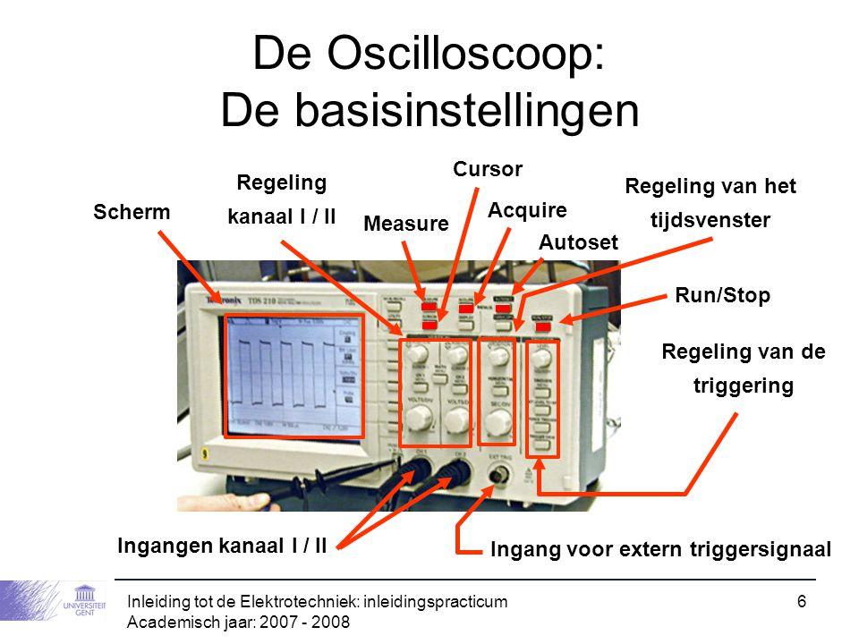 Inleiding tot de Elektrotechniek: inleidingspracticum Academisch jaar: 2007 - 2008 6 De Oscilloscoop: De basisinstellingen Ingangen kanaal I / II Inga