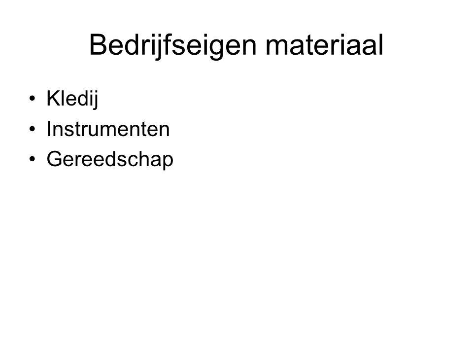 Bedrijfseigen materiaal Kledij Instrumenten Gereedschap