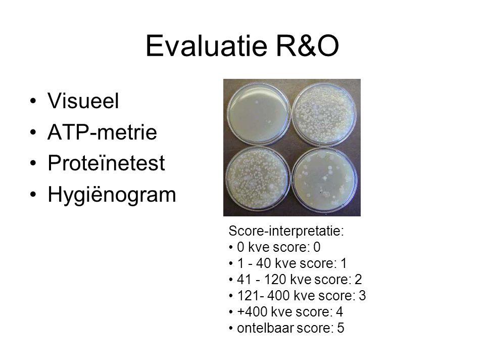 Evaluatie R&O Visueel ATP-metrie Proteïnetest Hygiënogram Score-interpretatie: 0 kve score: 0 1 - 40 kve score: 1 41 - 120 kve score: 2 121- 400 kve score: 3 +400 kve score: 4 ontelbaar score: 5