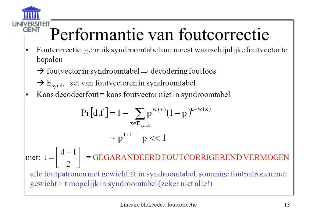 Lineaire blokcodes: foutcorrectie13 Performantie van foutcorrectie Foutcorrectie: gebruik syndroomtabel om meest waarschijnlijke foutvector te bepalen