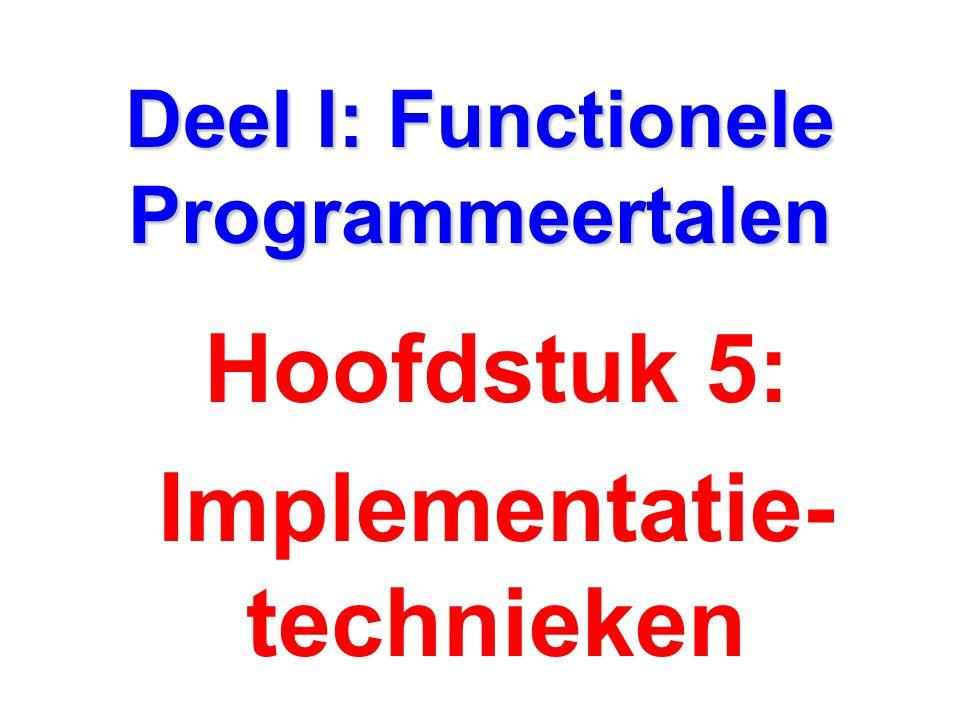 Deel I: Functionele Programmeertalen Hoofdstuk 5: Implementatie- technieken