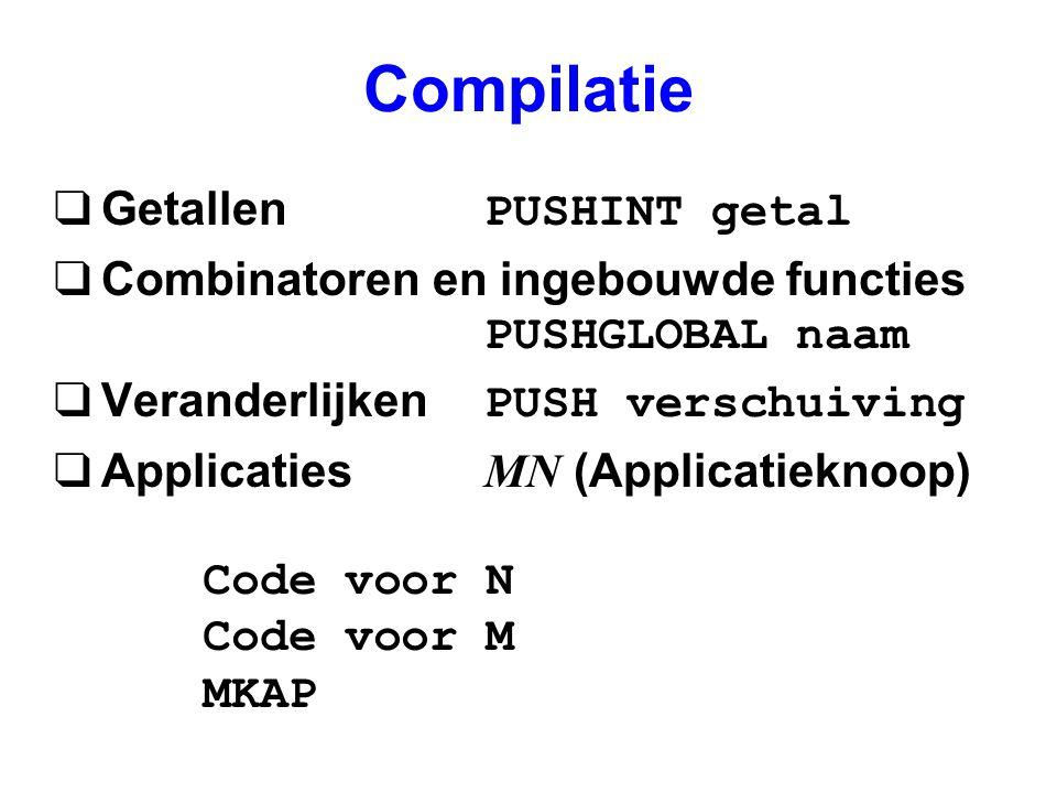 Compilatie  Getallen PUSHINT getal  Combinatoren en ingebouwde functies PUSHGLOBAL naam  Veranderlijken PUSH verschuiving  Applicaties MN (Applicatieknoop) Code voor N Code voor M MKAP
