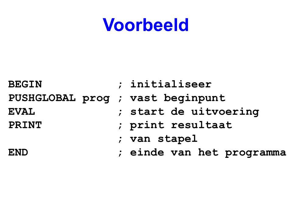 Voorbeeld BEGIN ; initialiseer PUSHGLOBAL prog ; vast beginpunt EVAL ; start de uitvoering PRINT ; print resultaat ; van stapel END ; einde van het programma