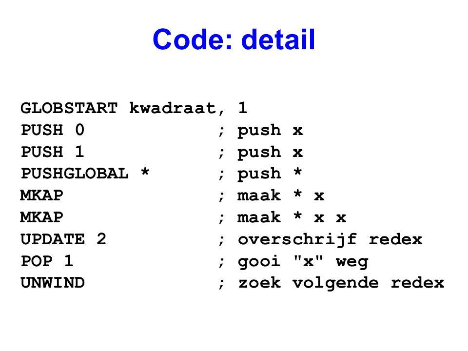 Code: detail GLOBSTART kwadraat, 1 PUSH 0 ; push x PUSH 1 ; push x PUSHGLOBAL * ; push * MKAP ; maak * x MKAP ; maak * x x UPDATE 2 ; overschrijf redex POP 1 ; gooi x weg UNWIND ; zoek volgende redex