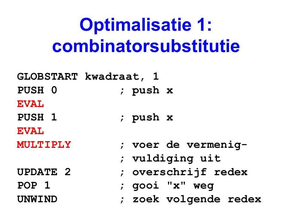 Optimalisatie 1: combinatorsubstitutie GLOBSTART kwadraat, 1 PUSH 0 ; push x EVAL PUSH 1 ; push x EVAL MULTIPLY ; voer de vermenig- ; vuldiging uit UPDATE 2 ; overschrijf redex POP 1 ; gooi x weg UNWIND ; zoek volgende redex