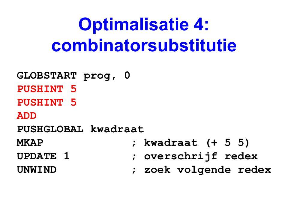 Optimalisatie 4: combinatorsubstitutie GLOBSTART prog, 0 PUSHINT 5 ADD PUSHGLOBAL kwadraat MKAP ; kwadraat (+ 5 5) UPDATE 1 ; overschrijf redex UNWIND ; zoek volgende redex