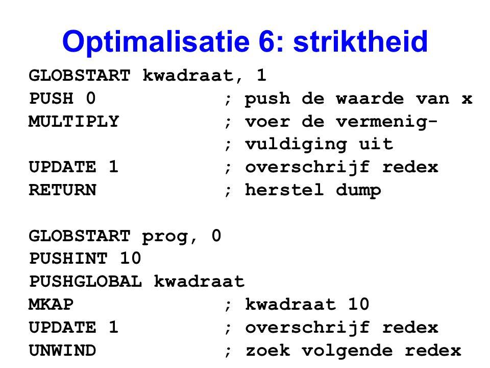 Optimalisatie 6: striktheid GLOBSTART kwadraat, 1 PUSH 0 ; push de waarde van x MULTIPLY ; voer de vermenig- ; vuldiging uit UPDATE 1 ; overschrijf redex RETURN ; herstel dump GLOBSTART prog, 0 PUSHINT 10 PUSHGLOBAL kwadraat MKAP ; kwadraat 10 UPDATE 1 ; overschrijf redex UNWIND ; zoek volgende redex
