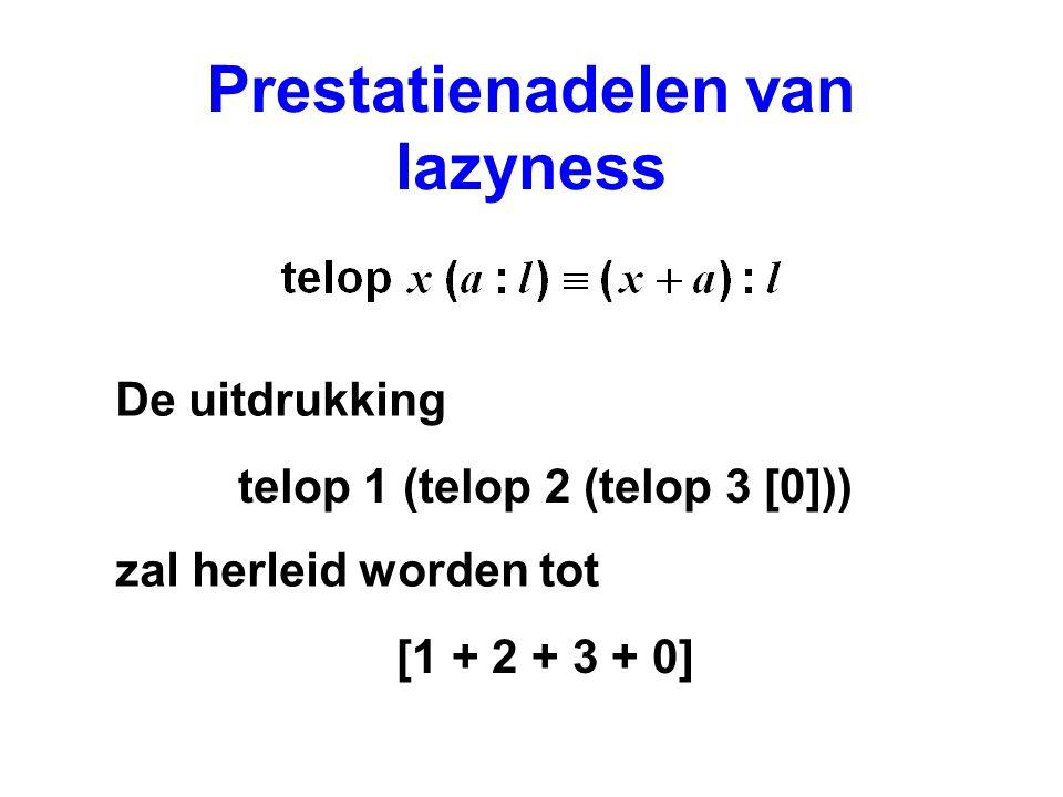 Prestatienadelen van lazyness De uitdrukking zal herleid worden tot telop 1 (telop 2 (telop 3 [0])) [1 + 2 + 3 + 0]