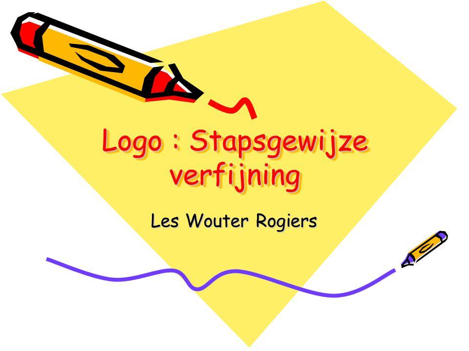 Logo : Inleiding De bedoeling van deze les is om een probleem op te splitsen in deelproblemen Deze deelproblemen coderen in hulpprocedures.