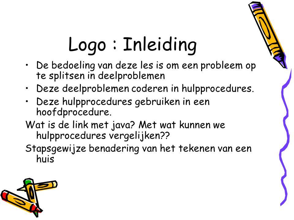 Logo : Stapsgewijze verfijning Bij het opsplitsen van deelproblemen krijgen we een boomstructuur waarbij een kind een deelprobleem is van de ouderprobleem Oefening : maak boom voor tekenen van vierhoek