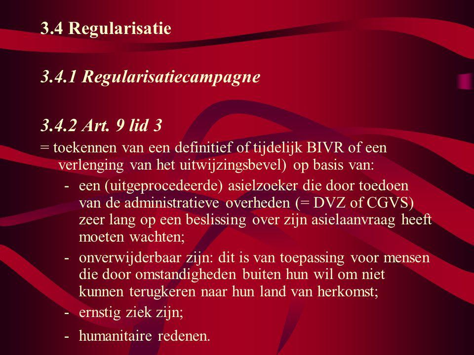 3.4 Regularisatie 3.4.1 Regularisatiecampagne 3.4.2 Art.