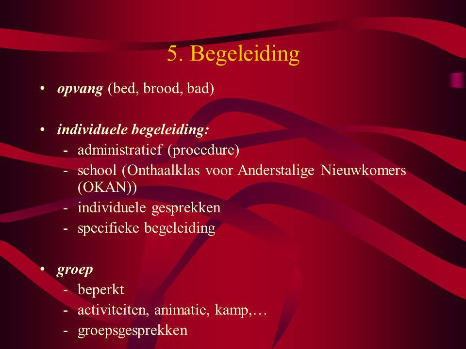 5. Begeleiding opvang (bed, brood, bad) individuele begeleiding: -administratief (procedure) -school (Onthaalklas voor Anderstalige Nieuwkomers (OKAN)