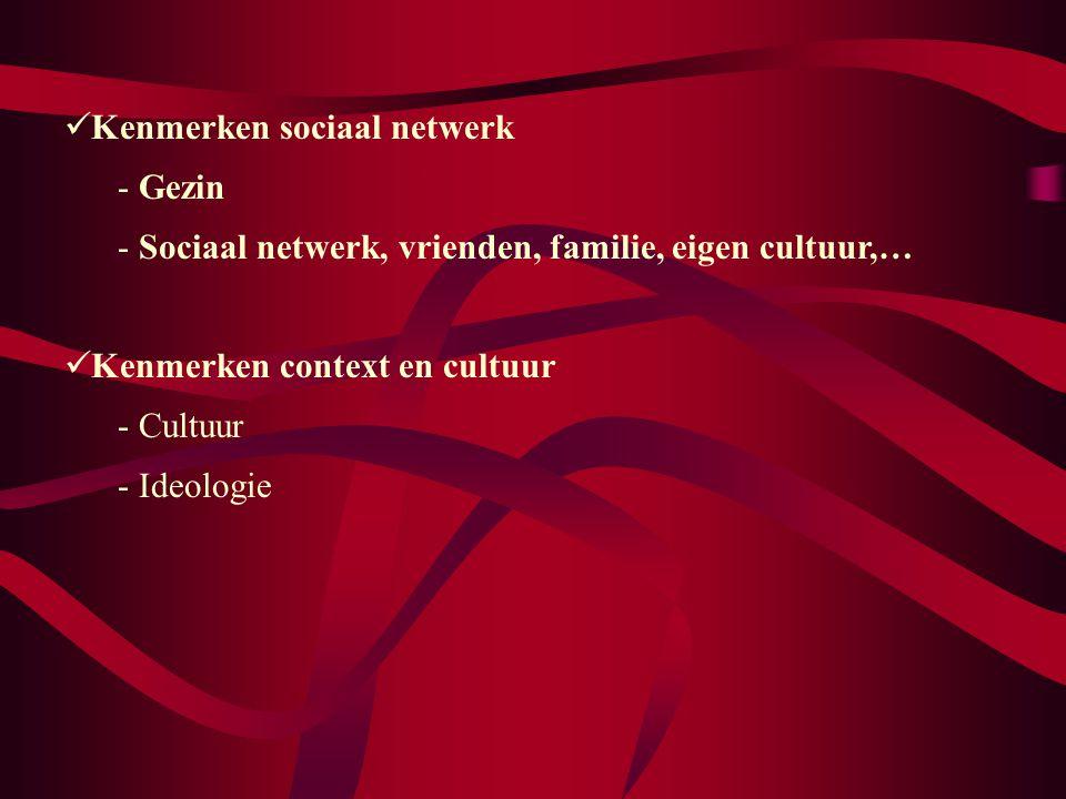 Kenmerken sociaal netwerk - Gezin - Sociaal netwerk, vrienden, familie, eigen cultuur,… Kenmerken context en cultuur - Cultuur - Ideologie