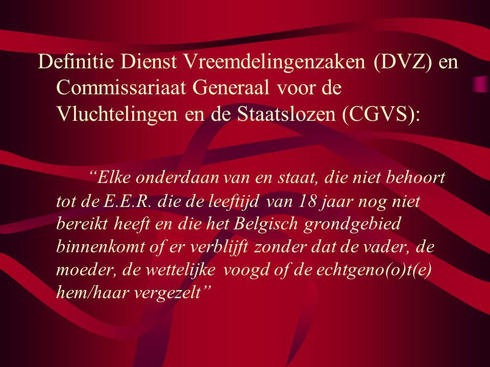 Definitie Dienst Vreemdelingenzaken (DVZ) en Commissariaat Generaal voor de Vluchtelingen en de Staatslozen (CGVS): Elke onderdaan van en staat, die niet behoort tot de E.E.R.