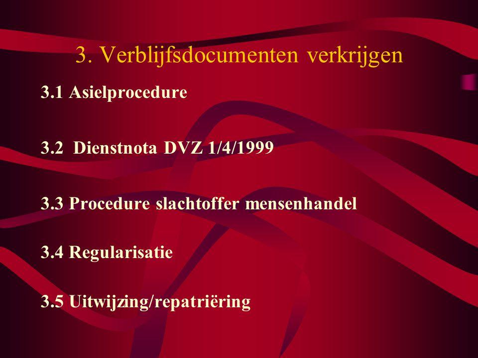 3. Verblijfsdocumenten verkrijgen 3.1 Asielprocedure 3.2 Dienstnota DVZ 1/4/1999 3.3 Procedure slachtoffer mensenhandel 3.4 Regularisatie 3.5 Uitwijzi