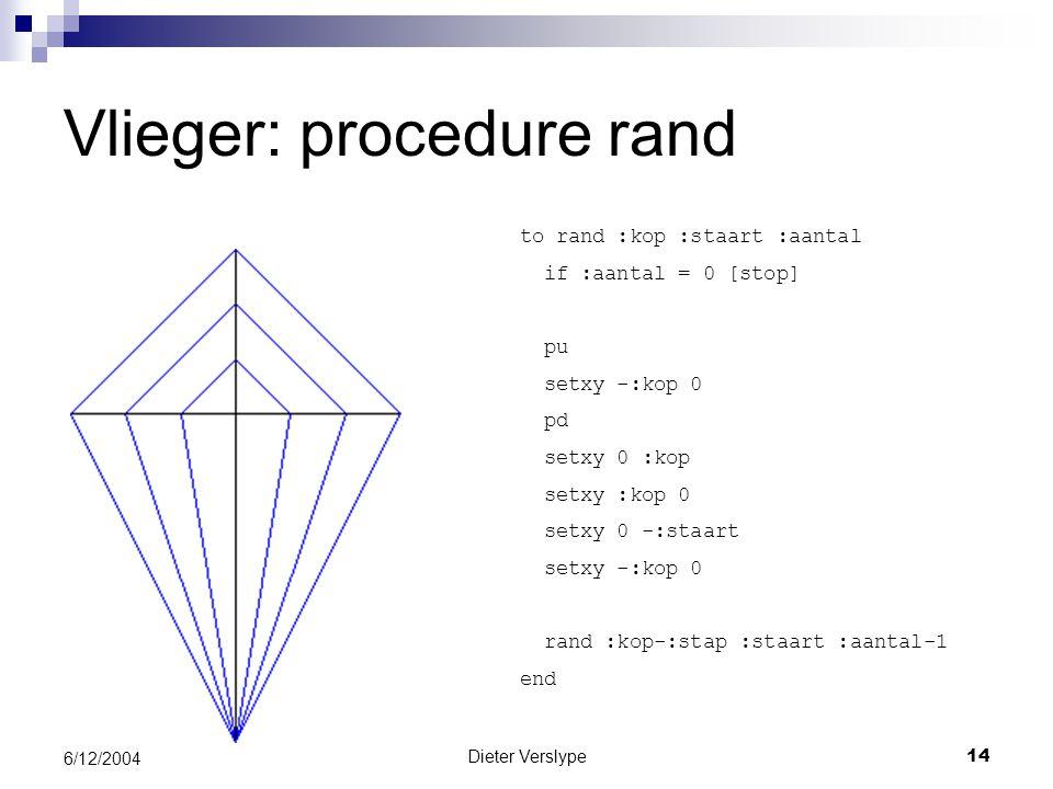Dieter Verslype14 6/12/2004 Vlieger: procedure rand to rand :kop :staart :aantal if :aantal = 0 [stop] pu setxy -:kop 0 pd setxy 0 :kop setxy :kop 0 setxy 0 -:staart setxy -:kop 0 rand :kop-:stap :staart :aantal-1 end