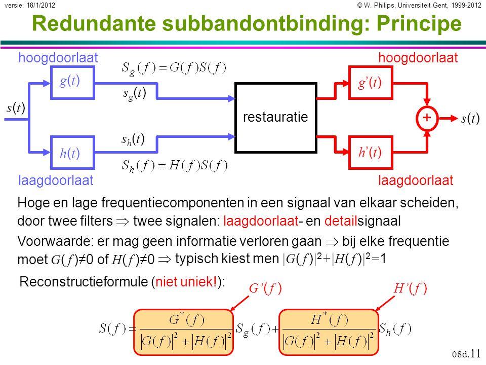 © W. Philips, Universiteit Gent, 1999-2012versie: 18/1/2012 08d. 11 + s(t)s(t) Redundante subbandontbinding: Principe g(t)g(t) h(t)h(t) laagdoorlaat h