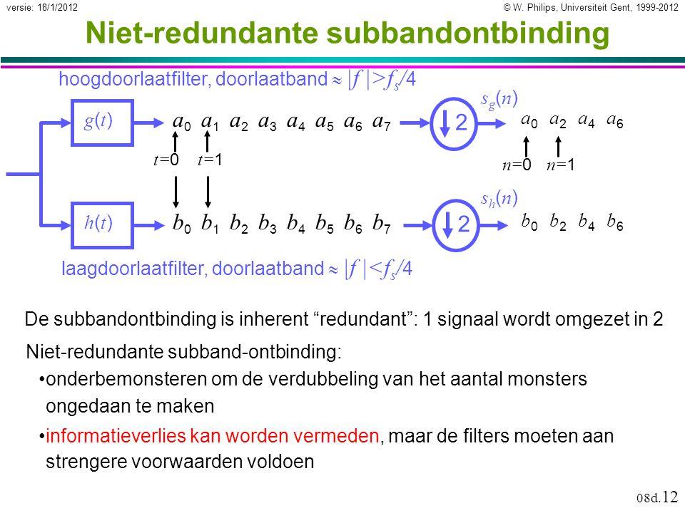 © W. Philips, Universiteit Gent, 1999-2012versie: 18/1/2012 08d. 12 Niet-redundante subbandontbinding g(t)g(t) h(t)h(t) laagdoorlaatfilter, doorlaatba