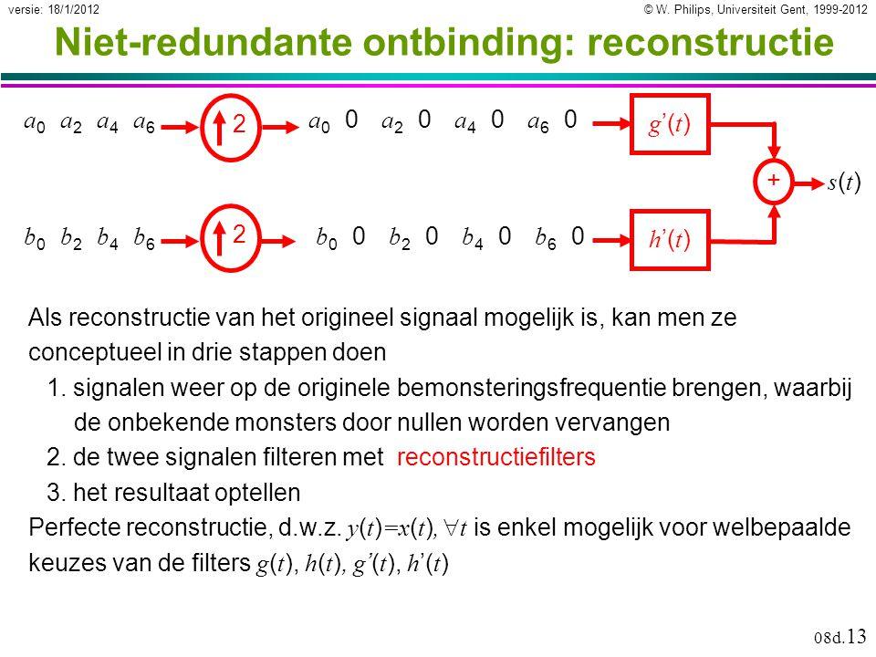 © W. Philips, Universiteit Gent, 1999-2012versie: 18/1/2012 08d. 13 Niet-redundante ontbinding: reconstructie Als reconstructie van het origineel sign