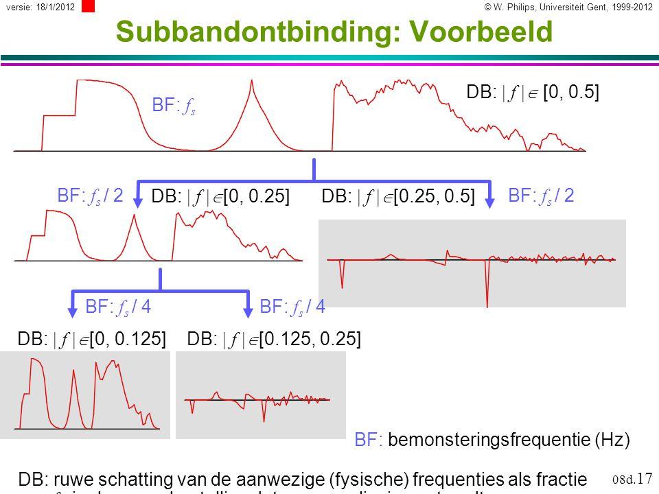 © W. Philips, Universiteit Gent, 1999-2012versie: 18/1/2012 08d. 17 BF: bemonsteringsfrequentie (Hz) DB: ruwe schatting van de aanwezige (fysische) fr