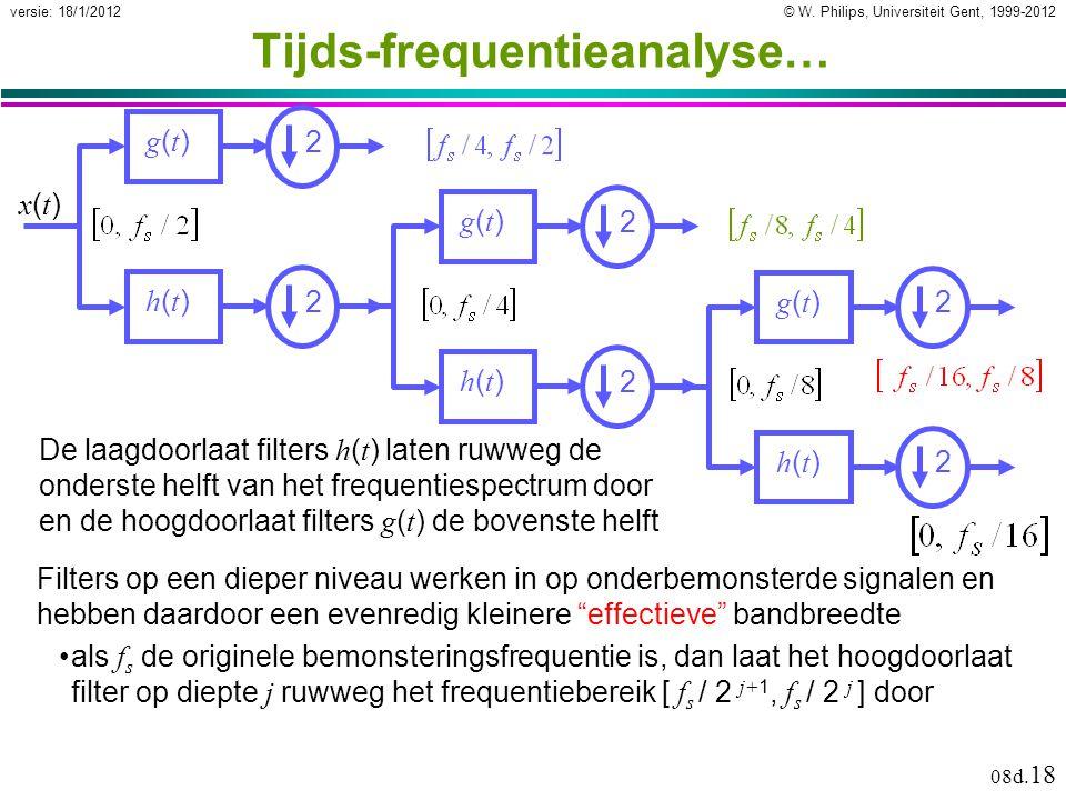 © W. Philips, Universiteit Gent, 1999-2012versie: 18/1/2012 08d. 18 Tijds-frequentieanalyse… De laagdoorlaat filters h ( t ) laten ruwweg de onderste