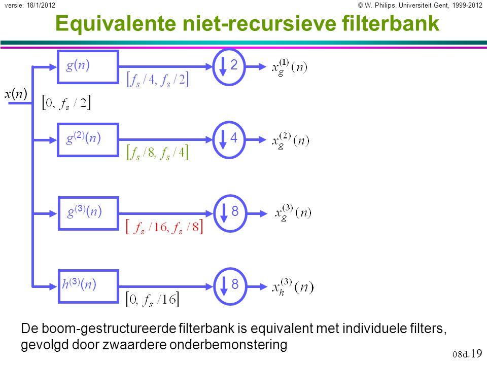 © W. Philips, Universiteit Gent, 1999-2012versie: 18/1/2012 08d. 19 Equivalente niet-recursieve filterbank De boom-gestructureerde filterbank is equiv